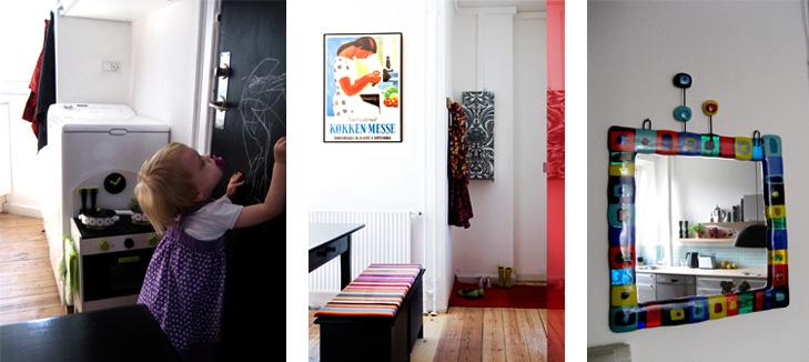 Detaljer fra indretning - Dør malet med tavlelak, spisebord med retro plakat på væggen og farverigt ophængt glasindfattet spejl