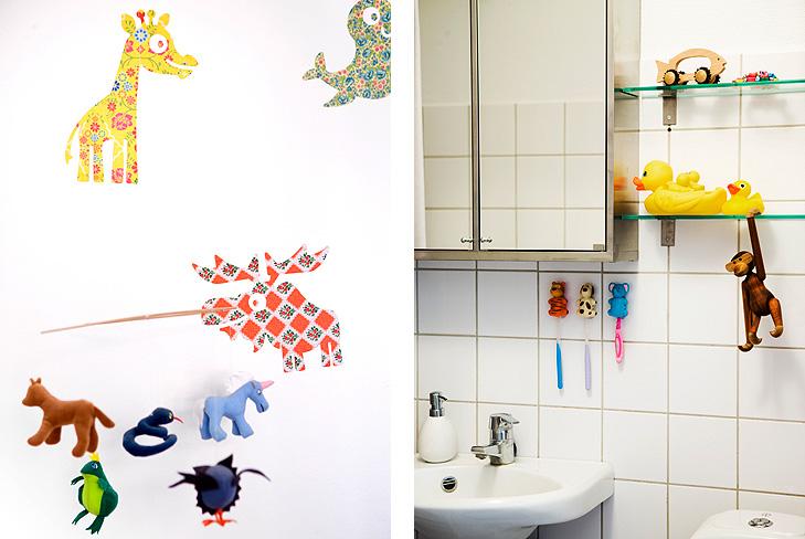 Detalje fra vægdekoration på børneværesle samt detalje fra indretning af badeværelse