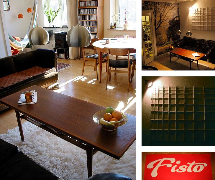 Indretning af stue med retro teakstræs look, orange pendler, efterårs tapet og abstrakt relief vægdekoration