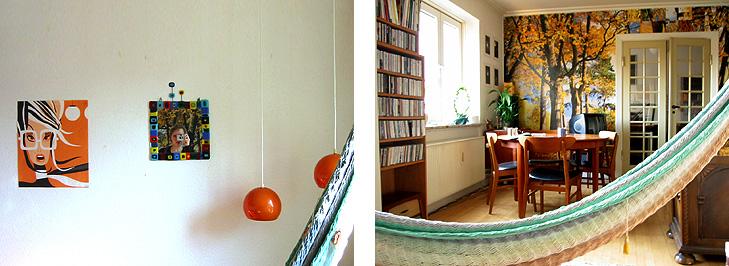 Hængekøje, farverigt spejl og teaktræsmøbeler i dagligstue med spisebord og retro indretning