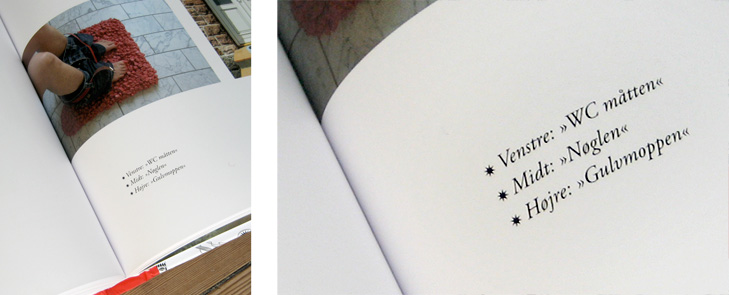 Nærbilleder af typografien og layoutet i bogen 101 Kunstnere.