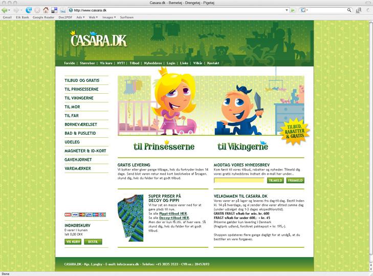 Website design af forsiden til webshoppen Casara.dk. Topbanneret er grønt med et Casara logo på.