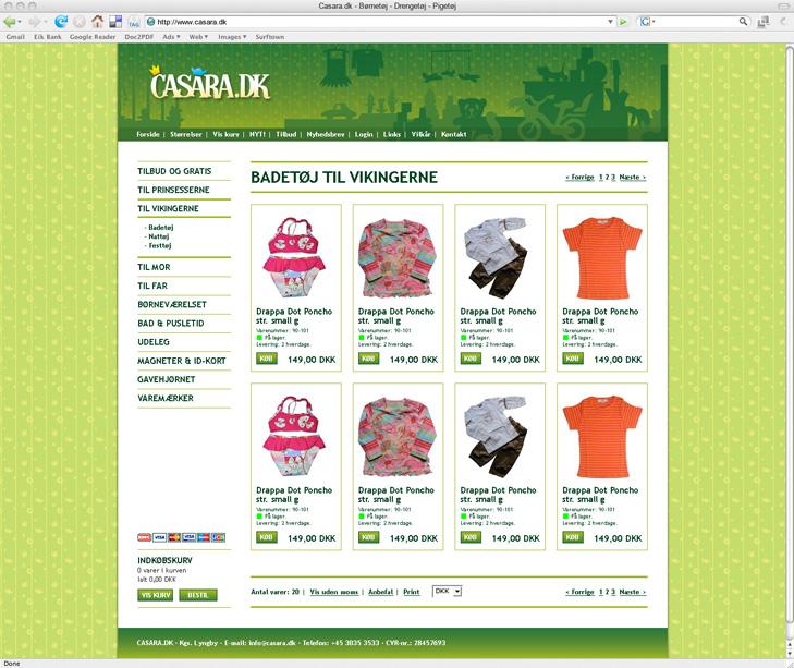 Website design af underside med produkter på webshoppen Casara.dk. Topbanneret er grønt med et Casara logo på. Produkterne er børnetøj.