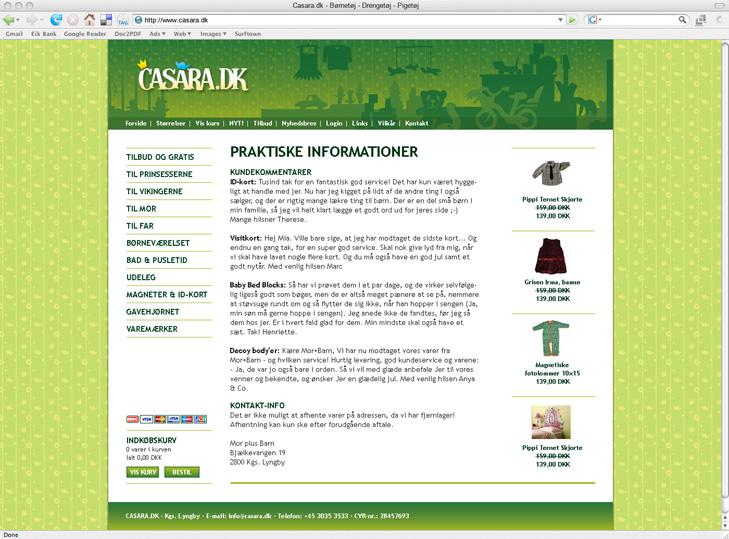 Website design af underside med tekst på webshoppen Casara.dk.