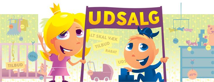 Alternativt forside banner til webshoppen Casara.dk med Udslagsbanner. De to børnemaskotter holder et stor banner hvor der står udsalg og på tapetet i baggrunden er der forskellige udsalgs- og tilbudsskilte.