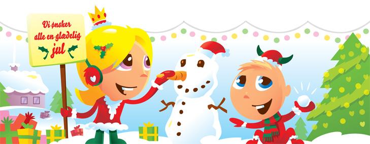 Alternativt forside banner til webshoppen Casara.dk med jule-tema. De to børnemaskotter har nissehue og nissetøj på. Det sner og pigen holder et skilt hvor der står vi ønsker alle en glædelig jul. De bygger en snemand.