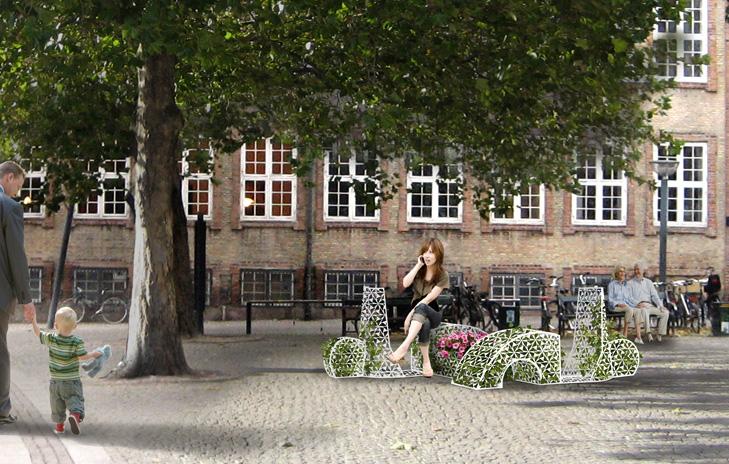 Visualisering af byrumsinstallation som forestiller en scooter lavet af et metal-gitter. Der vokser planter og blomster op imellem hullerne i gitteret. Scooteren står under et træ ved Gammel Strand i København.