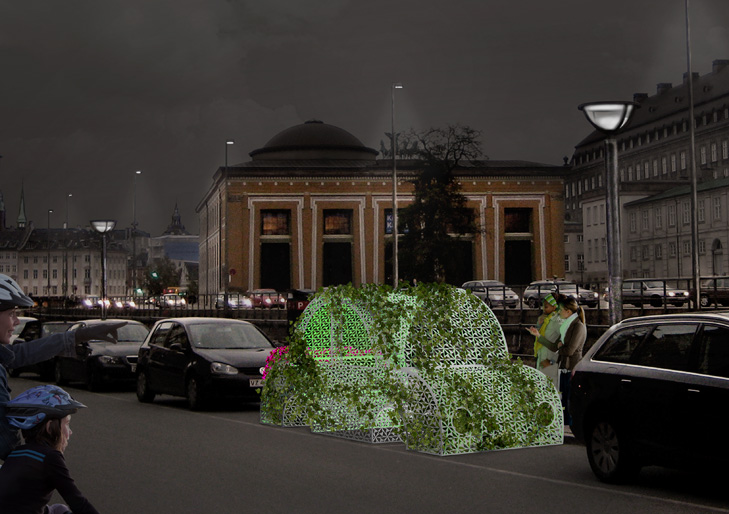 Visualisering af byrumsinstallation som forestiller en bil lavet af et metal-gitter. Der vokser planter og blomster op imellem hullerne i gitteret. Gitteret er oplyst af lamper med et grønt skær. Bilen står ved Gammel Strand i København overfor Throvaldsens Museum.