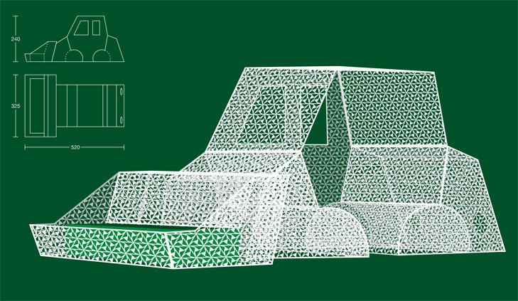 3D tegning og konstruktionstegning af byrumsinstallation som forestiller en gravko lavet af et hvidt metalgitter.