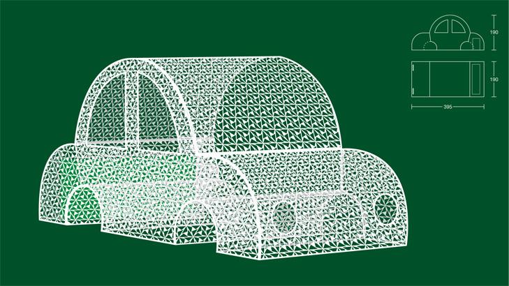 3D tegning og konstruktionstegning af byrumsinstallation som forestiller en bil lavet af et hvidt metalgitter.