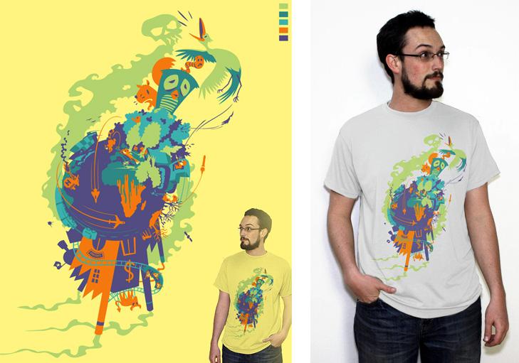 Tegning af jordklode hvor konsekvenserne af menneskelig forurening er illustreret med døde træer, dyr der flygter og forurenende fabrikker. Ved siden af tegningen står en mand med tegningen af jordkloden på en t-shirt.
