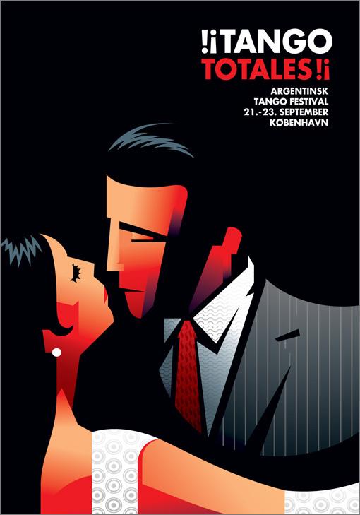 Plakat der reklamerer for en tango festival med en tegning af en kvinde og en mand der står meget tæt. Illustrationen er stiliseret og ekspressiv i stilen med sort baggrund og i et rødligt skær.