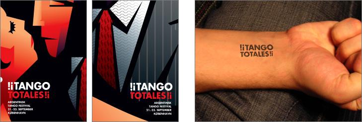 Postkort der reklamerer for en tango festival med nærbillede af illustration af mand og kvinde der står tæt. Illustrationen er tegnet med sort baggrund i et rødligt skær. Ved siden af er der et billede af en underarm med et stempel i form af festivalens logo.