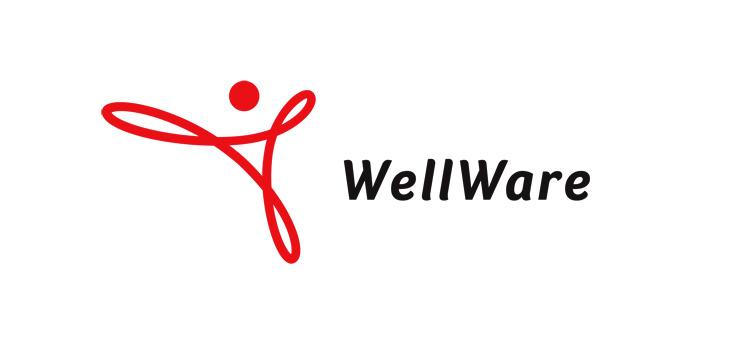 Wellware logo design med et evighedssymbol tegnet med en tyk rød streg.