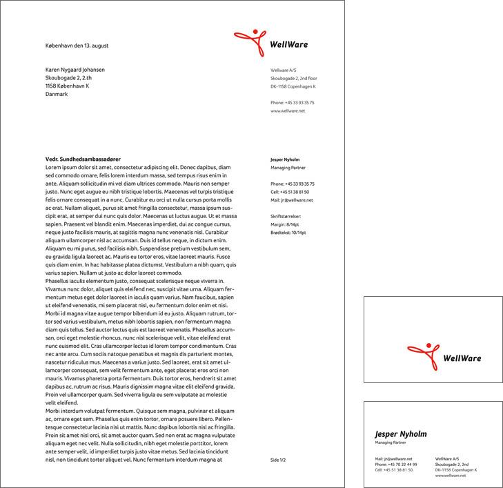 Layout eksempel af brevpapir og visitkort til it-firmaet Wellware.