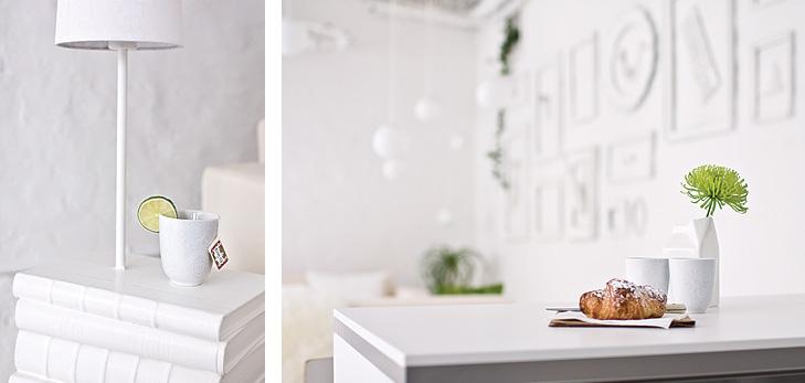 Nærbilleder fra kontorindretning af lampe og køkkenbord.