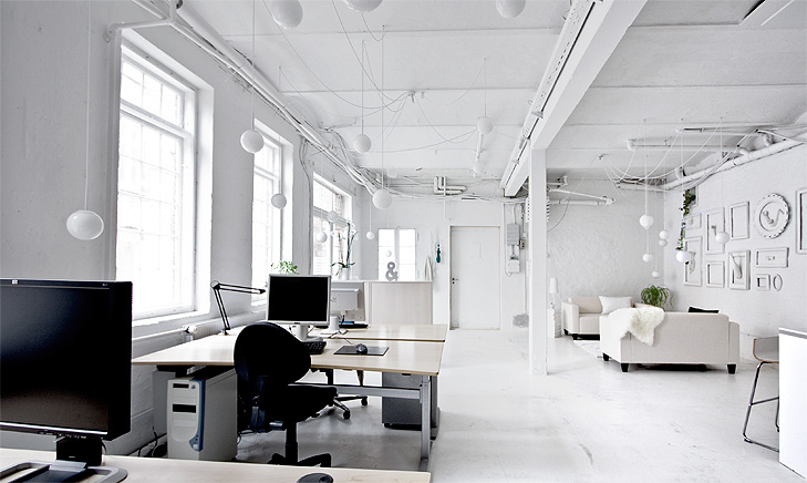 white office interior. the complex electric wiring for lamp clusters mixed very well with visible plumbing and wires in rest of room white office interior x