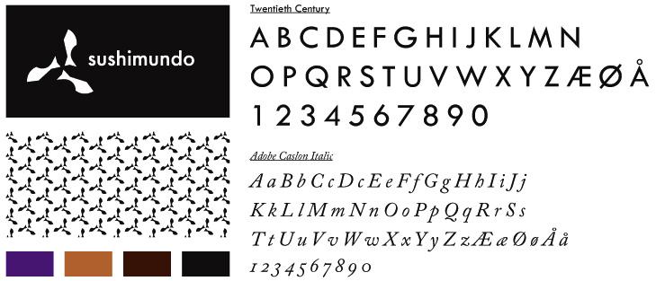 Typografi, logo og farver fra identiteten til restauranten Sushimundo.