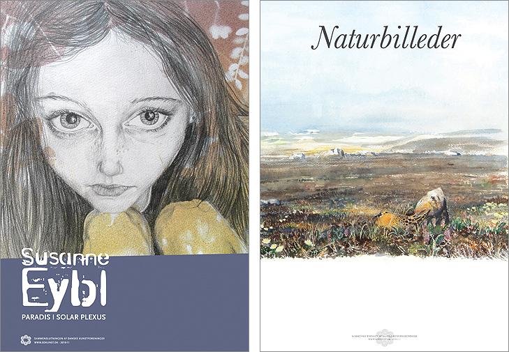 Plakat fra kunstudstilling med kunstneren Susanne Eybl og plakat fra kunstudstllingen naturbilleder. Begge er akvareltegningre. Den ene af en pige og den anden af et hedelandskab med en fugl i forgrunden.