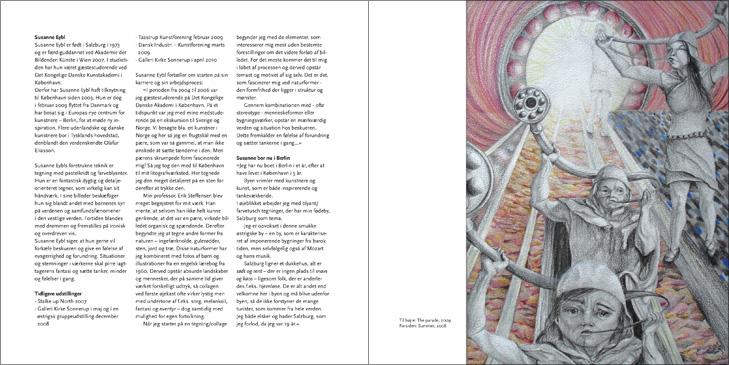 Layout af opslag fra folderen til kunstudstilling med Susanne Eybl.