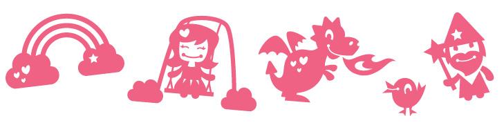 Lyserøde wallstickers med prinsessetema tegnet i en sød stil. Der er en regnbue, en prinsesse der gynger, en drage, en lille fugl og en troldmand.