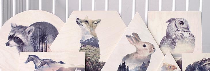 Faunascapes print p� krydsfiner artboard