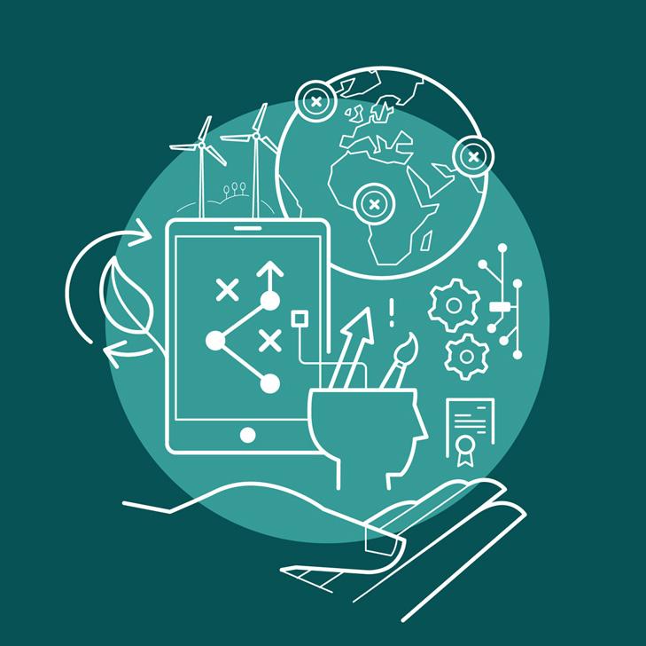 Infografik der illustrerer det globale perspektiv i Industriens Fonds strategi. Emnerne der kredses om er international handel, bæredygtighed, teknisk know-how, grøn omstilling samt digitalisering.