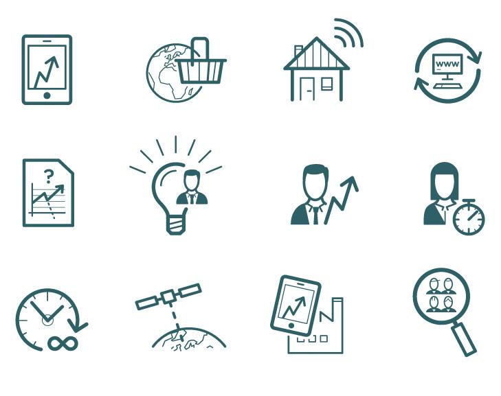 12 ikoner tegnet til årsberetningen for Industriens Fond. De illustrerer overskrifter for specielle fokusområder som digitalisering, leder- og medarbejder udvikling, kommunikation og aktiemarkedet.