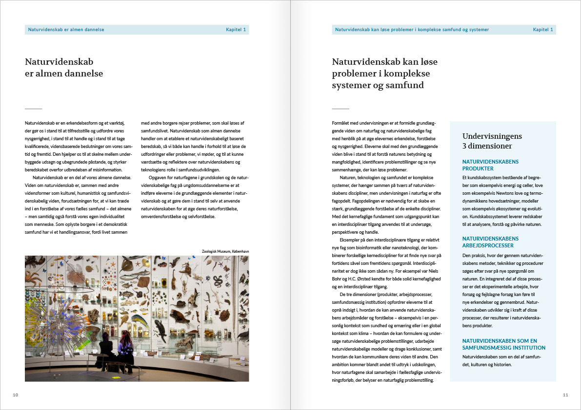 Layout of the spread with page 10 and 11 from Naturvidenskabens ABC. The spread is from the introductory chapter.