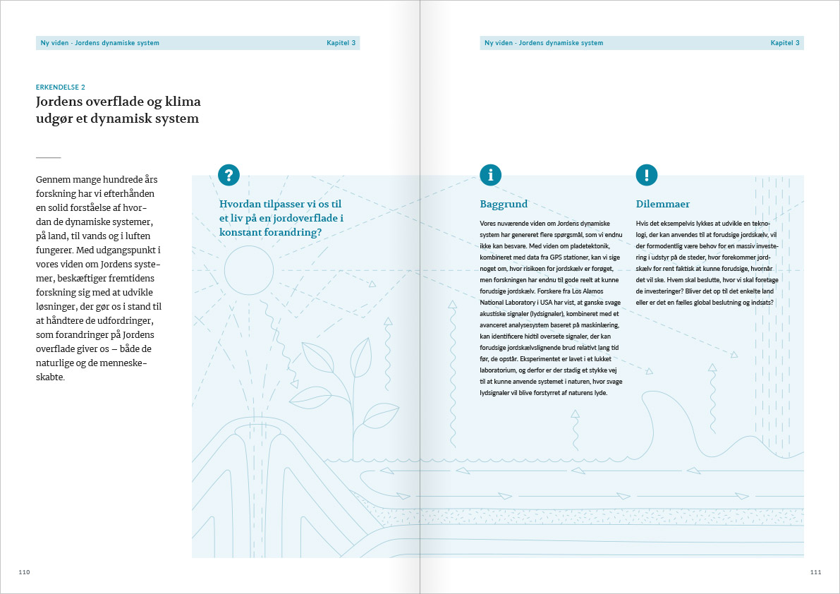 Layout of the spread with page 108 and 109 from Naturvidenskabens ABC. The spread contains a description of the dilemmas connected to acknowledgement number 2. In the background of a box that stretches across the spread there is an illustration with a vulcano and a sea.