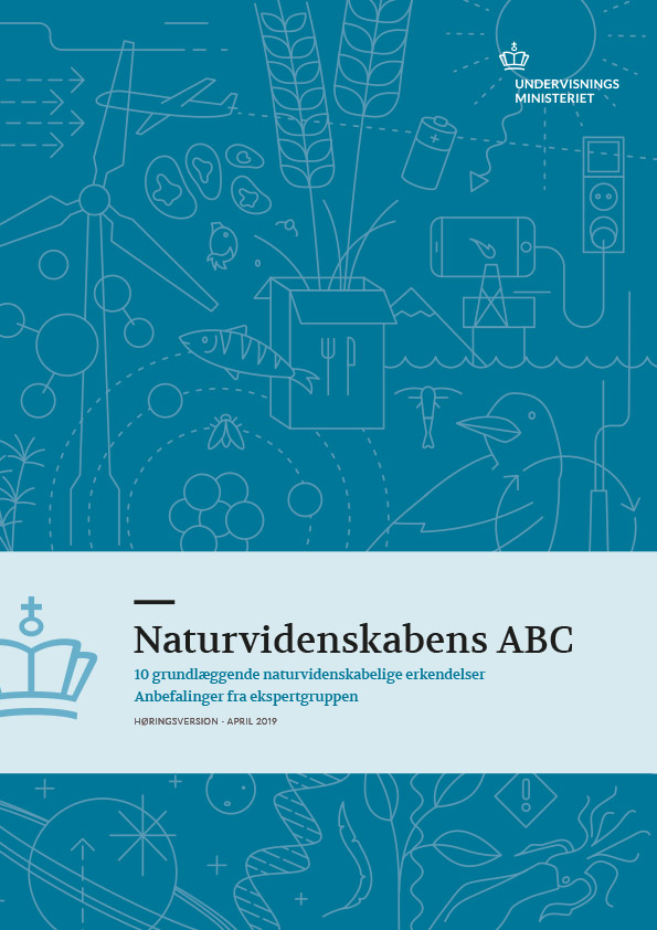 Layout and design of the frontpage from Naturvidenskabens ABC published by the Danish Ministry of Education. The main element on the frontpage is some simple illustrations in one color with a science theme. The illustrations are close together and form a pattern. The focus of the illustrations are a windmill, a crow, some ears of corn, planets and models of atoms.