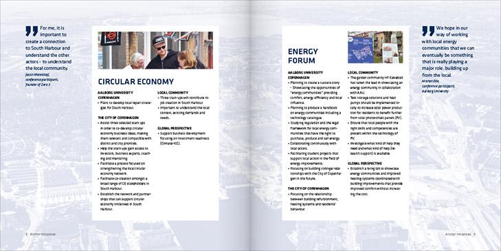 Layout af opslag fra udgivelsen Community Based Living Labs South Harbour. Fokus på to citater og bokse med tekst. Overskriftern er Circular Economy og Energy Forum.