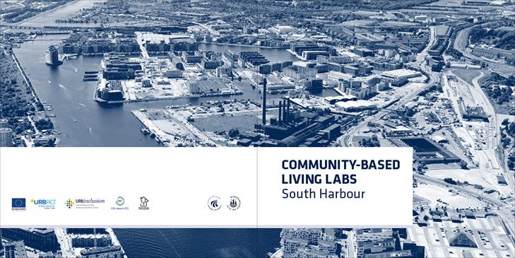 Layout af omslaget fra udgivelsen Community Based Living Labs South Harbour. Hovedelementet på omslaget er et luftfoto af Sydhavnen i København holdt i blå toner. På bagsiden ses diverse logoer og på forsiden ses overskriften Community Based Living Labs, South Harbour.