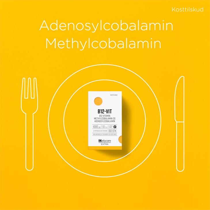illustration fra animeret some reklamefilm om kosttilskud med indpakning som ligger på en tegnet tallerken med kniv og gaffel på siden