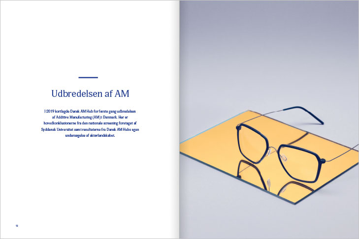 Danish AM Hub, Additive Manufacturing Magazine, Layout of spread with a big photo of a pair of glasses