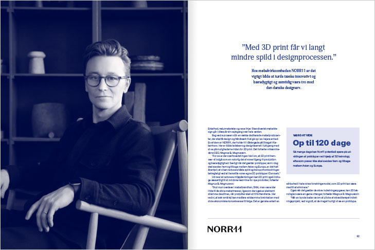 Danish AM Hub, Additive Manufacturing Magazine, Layout of spread with 3D print case about the company NORR11, spread 1 with a large portrait photo of the designer