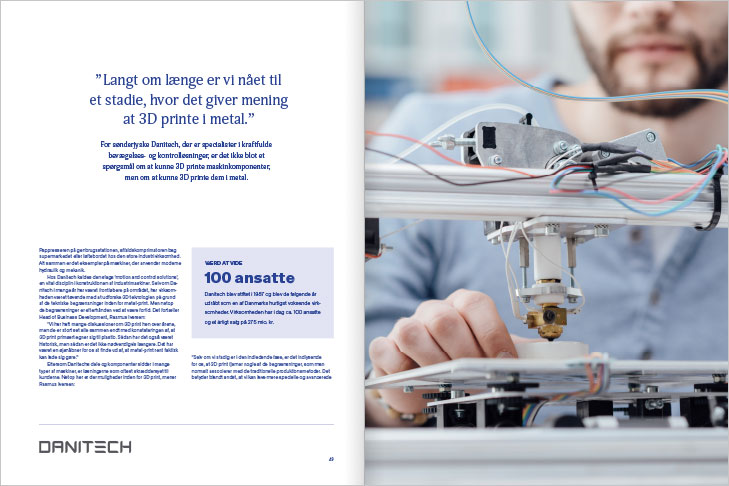 Danish AM Hub, Additive Manufacturing Magazine, Layout of spread with 3D print case about the company Danitech, with close-up of a 3D printer