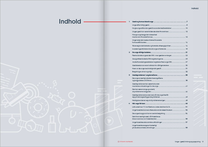Finance Denmark, Report on young peoples debts, spending and savings: Layout of content spread.