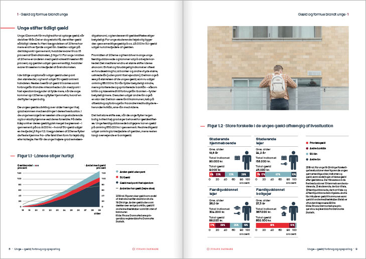 Finance Denmark, Report on young peoples debts, spending and savings: Layout of text spread.